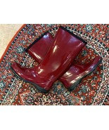 KAMIK HEIDI BURGUNDY WINE RED MAROON 9M  TALL RAIN BOOTS FLATS PULL ON  - $26.55