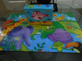 Ceaco Kids Floor Puzzle 2 sided 24 piece in Box w/handle Fish & Animals 2X3' - $8.01