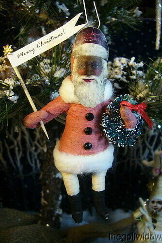 Vintage Inspired Spun Cotton Black Santa Ornament no.79
