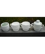 Vintage Milk White Glass Sm. Hobnail Sugar Bowl Creamer Jam Jar & Votive Holder - $14.75