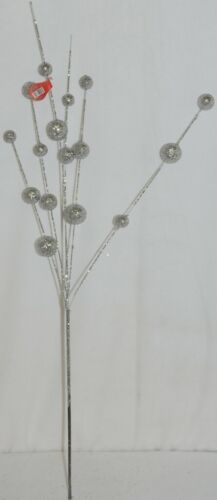 Unbranded CSBRY804 Glittery Silver Ball Holiday Spray Decoration