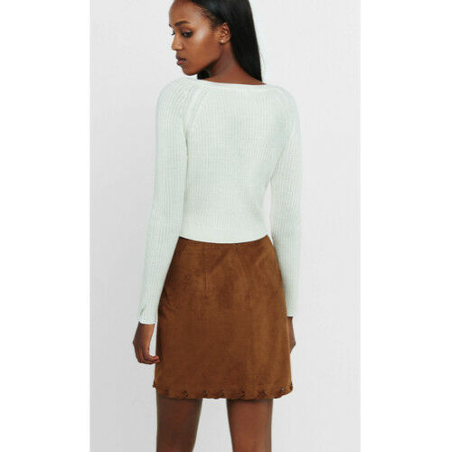 NWT Express Brown Faux Suede Laced Hem Grommet Wrap Mini Skirt M image 2