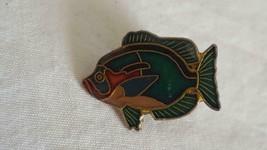"VINTAGE ENAMELED 1""BRASS TROPICAL FISH LAPEL FASHION PIN BROOCH, METAL, ... - $4.94"