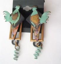 "Jill Schwartz Elements Earrings Roosters Verdigris Patina Mixed Media 3""... - $47.51"