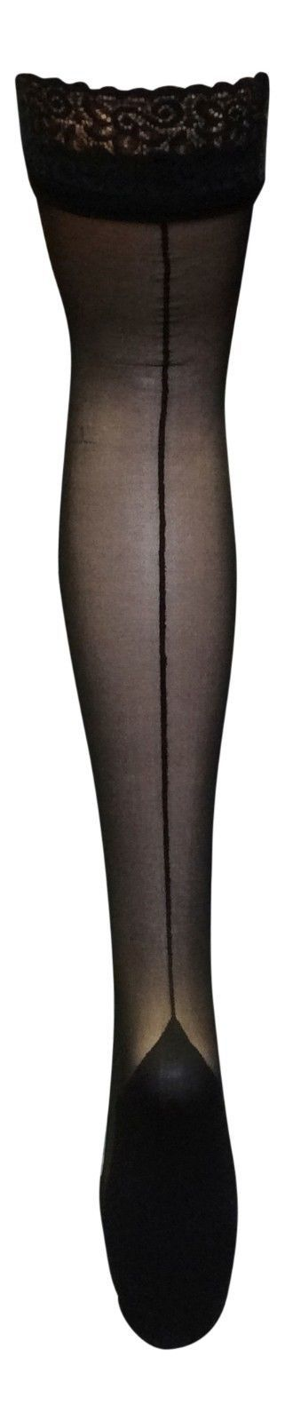 Womens Sexy Black Lace Top Colored Cuban Heel Thigh High Nylon Seamed Stockings