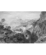 ITALY Subiaco Valley of Anio - 1864 Fine Quality Print Engraving - $49.50