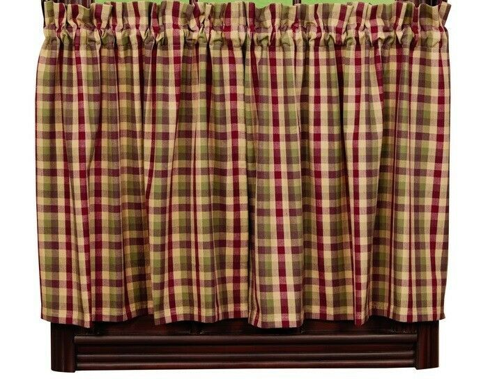Primary image for primitive country farmhouse Apple Cider red green brown tan plaid TIER curtains