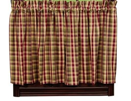 primitive country farmhouse Apple Cider red green brown tan plaid TIER curtains - $37.95