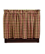 primitive country farmhouse Apple Cider red green brown tan plaid TIER c... - $37.95