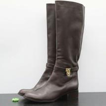 Michael Kors Women's Brown Leather Padlock Logo Knee High Lock Boots Size 10 M - $79.19