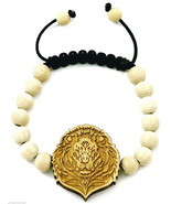 Lion Face Bracelet New Good Wood Style Adjustable Macrame With 10mm Wood... - $13.18