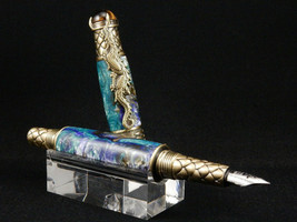Chinese Dragon Fountain Pen, Blended Blues Resin w/Brass Fittings - $74.99