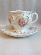 Fine Demitasse Cup & Saucer Antique Lobed Shape W Cabbage Rose Motif German! - $29.69