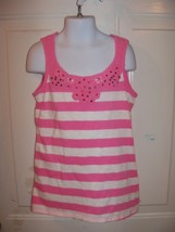 Justice Pink/White Striped Tank Top Size 10 Girl's EUC - $16.02