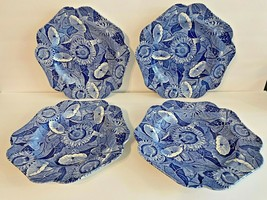 Set of 4 Spode Blue Room Collection Sunflower Scalloped Luncheon Plates - $70.00