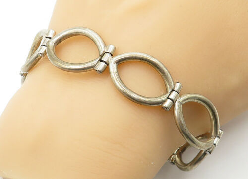 Primary image for MEXICO 925 Silver - Vintage Open Oval Hinged Link Chain Bracelet - B6449