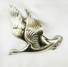Coro flying goose pin silver large vintage 1940s large - $14.36