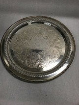 15 in. Round Silver plate WM Rogers 162 pierced platter Vintage etch - $37.03