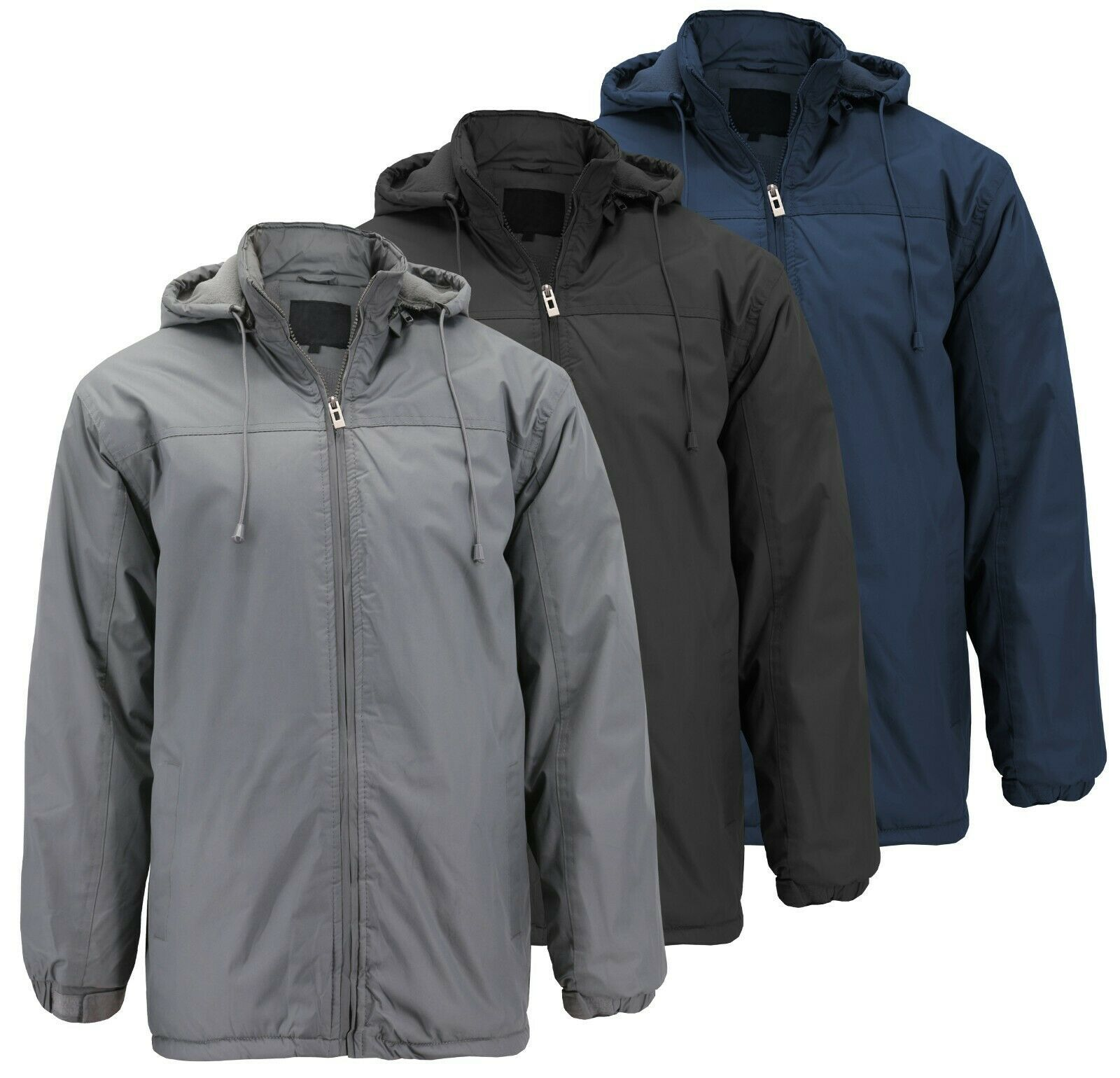 Men's Heavyweight Polar Fleece Zip Up Windbreaker Hood Insulated Jacket