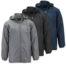 Men's Polar Fleece Zip Up Coat Water Resistant Windbreaker Hood Parka Jacket
