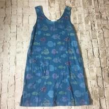 Fresh Produce Blue Fish Print Cotton Sleeveless Tank Dress Size XS Pocket - $24.72