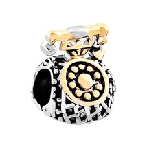 Antique Telephone Charm Silver Gold Beads For Bracelet Vintage Phone Wom... - $19.99
