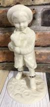"""Vintage Lenox Porcelain Rainy Day Friend Boy With Puppy Dog Size 8""""X4"""" I... - $29.70"""