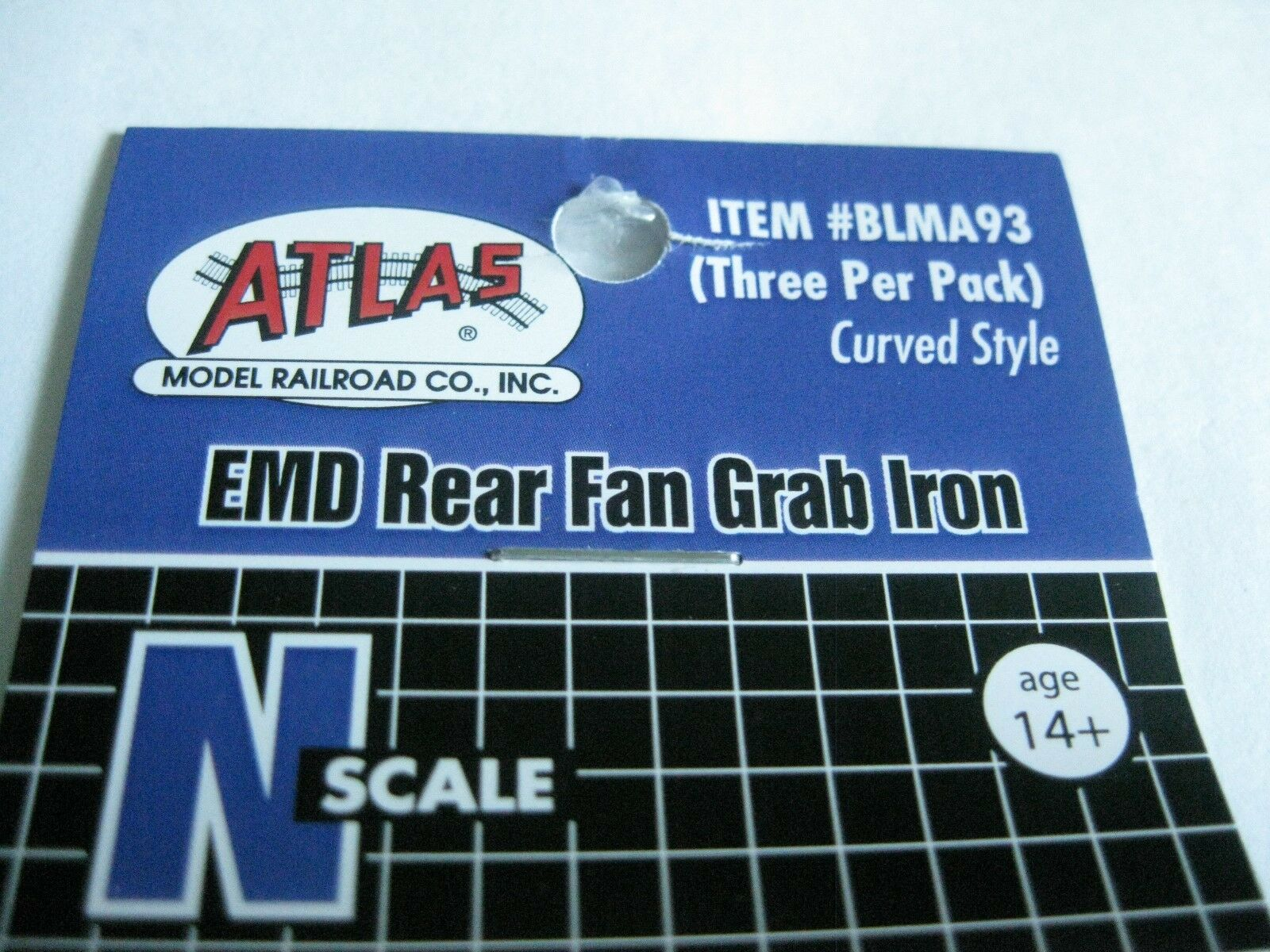 Atlas #BLMA93  EMD Rear Fan Grab Iron (Three Per Pack) Curved Style N-Scale