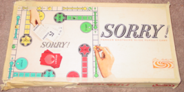 SORRY SLIDE PURSUIT GAME 1964 PARKER BROTHERS COMPLETE VINTAGE PLAYED CO... - $15.00