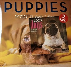 2020 Calendar Puppies Dogs 2 Pack 12 Month New Sealed Wall & Mini Quick ... - $12.19