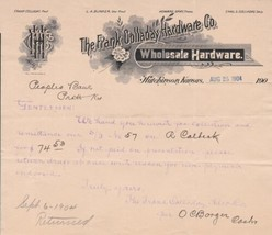 United States The Frank Colladay Hardware Co. 1904  Logo Invoice Letter ... - $9.95