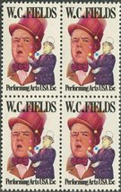 1980 W C Fields Block of 4 US Postage Stamps Catalog Number 1803 MNH