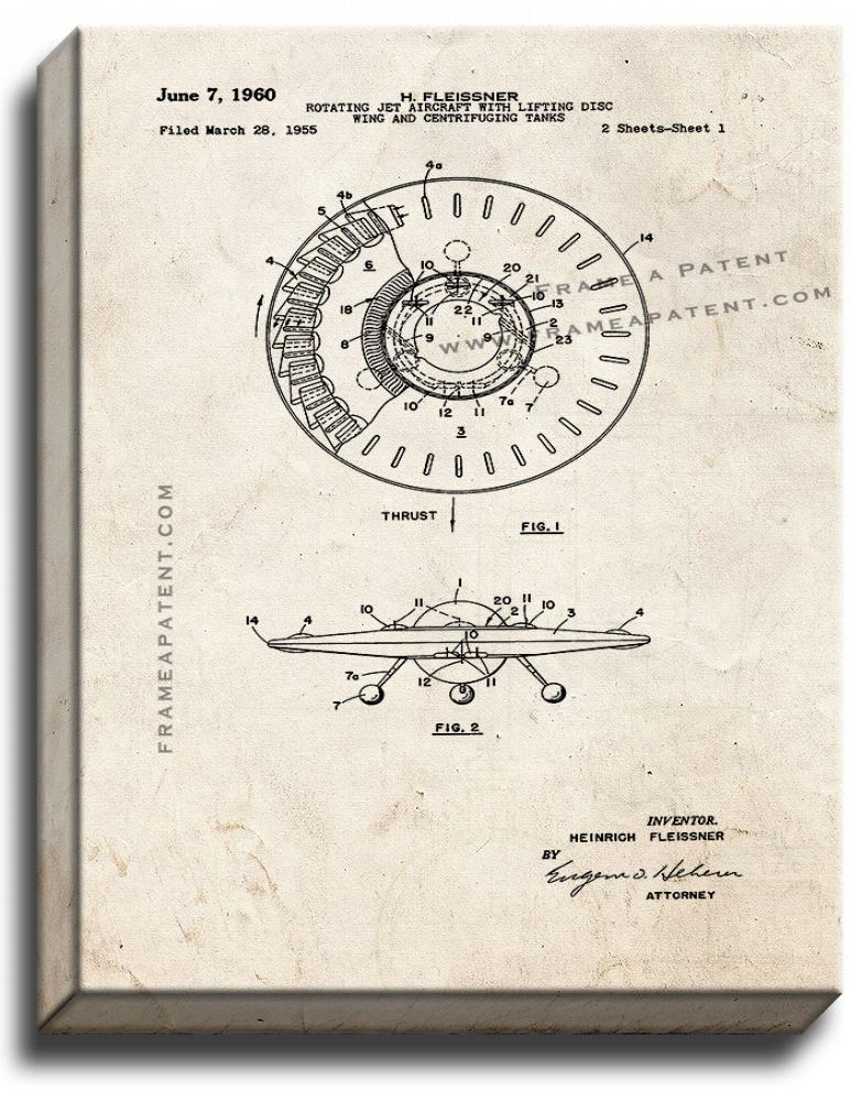 Primary image for Rotating Jet Aircraft With Lifting Disc Patent Print Old Look on Canvas