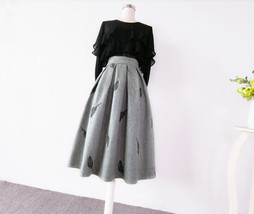 Black Winter Wool A Line Pleated Skirt High Waist Midi Skirt with Wing Patterns image 14