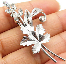 CARL-ART 925 Silver - Vintage Cubic Zirconia Leaves Designed Brooch Pin ... - $34.96
