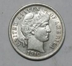 1916 Liberty Barber Head 10¢ Dime Silver Coin Lot# MZ 4727