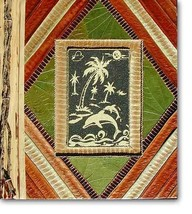 Leaf Notebook Journal Hand Crafted Bali Palm Tree Dolphin Design Natural... - $12.20