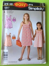 # Simplicity Sewing Pattern 1647 Childrens Girls Dress Bag Size 3-14 New - $11.33