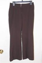 W8084 Womens ANN TAYLOR LOFT Brown Cuffed Boot Cut SLACKS Pants Marisa 2... - $14.50