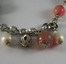 .925 SILVER RHODIUM NECKLACE WITH WHITE PEARLS, AND PINK, PURPLE AND BROWN AGATE image 4
