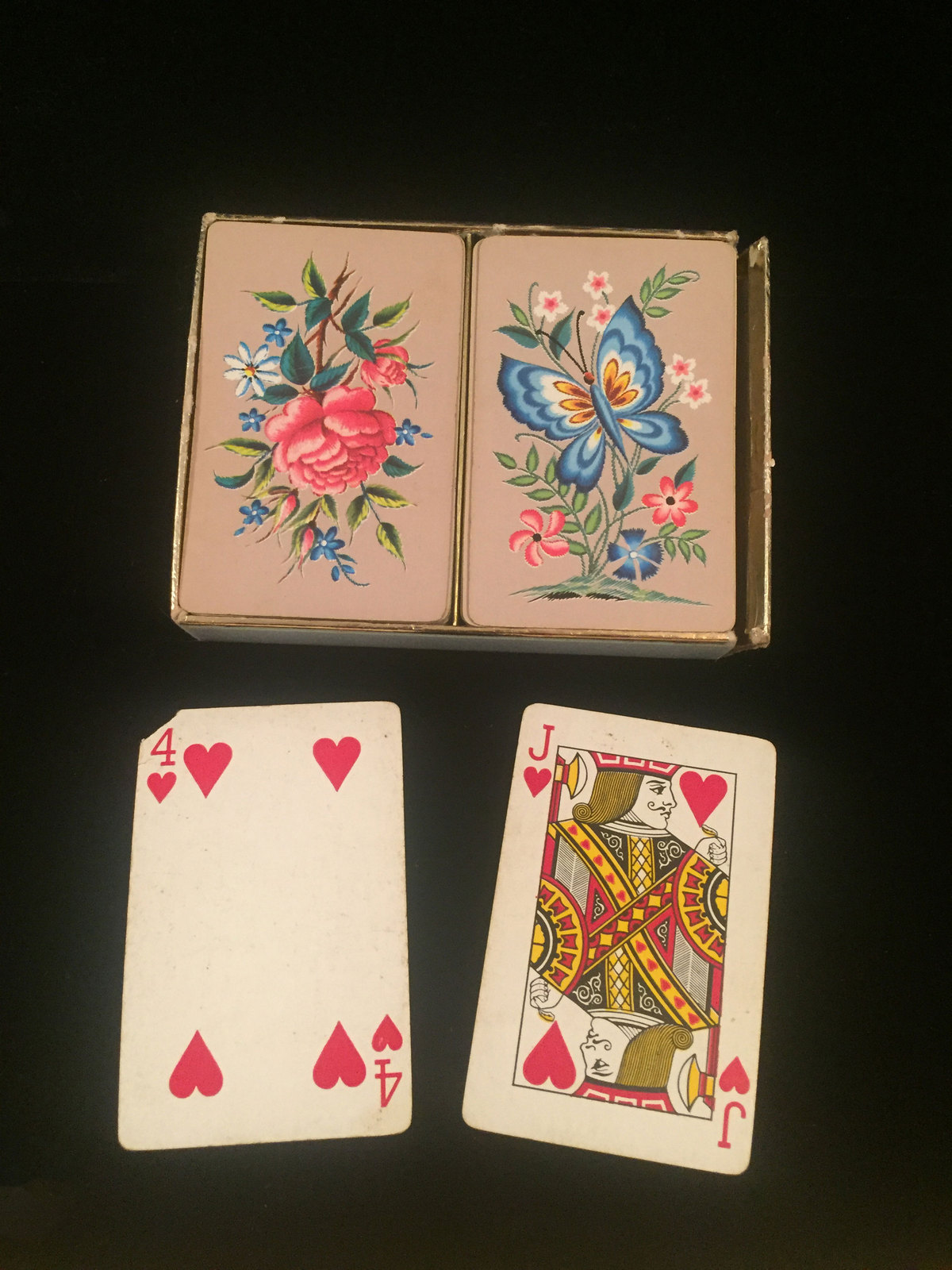 "Vintage W. P. Co. Double Playing Card Boxed set- #8902 ""Crewel Work"""