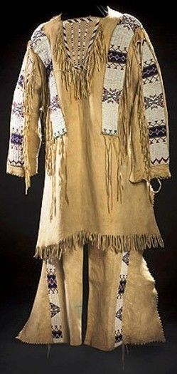 Reproduction Men's Native American Buckskin Beige Bead Leather Shirt/ Pant WS241
