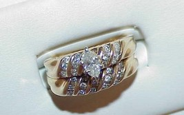 14k 1.00Ct Diamond MARQUISE Solitaire 2 Ring Set Size 7 Vintage High End - $762.29