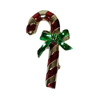 Vintage Candy Cane Brooch Pin Signed Gerrys Gold Tone Red Green - $9.32