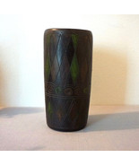 Vintage American Art Pottery Planter Vase Black Hand Carved Painted - $75.00
