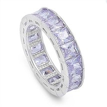 Lavender Emerald Cubic Zirconia CZ Wide Eternity Band Sterling Silver Ri... - $49.99