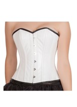 White Rice Leather Burlesque Gothic Steampunk Waist Training Overbust Corset Top - $69.99