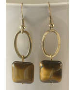 Tigers Eye & Gold Colored Oval Metal Circles Dangle Style Pierced Earrings - $12.50