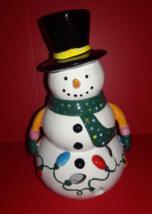 Cute Snowman Ceramic Votive Candle Holder Holding Christmas Lights Decor... - $3.47