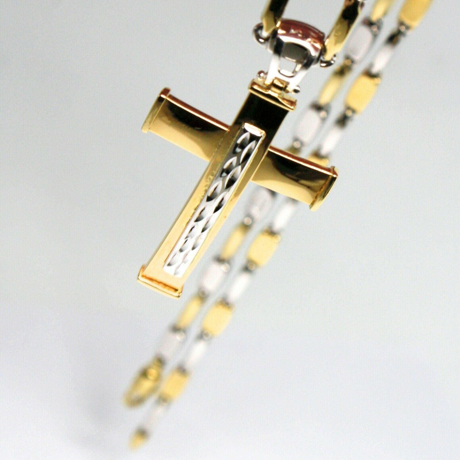 18K YELLOW WHITE GOLD TUBE ALTERNATE CHAIN, 20 INCHES & WORKED CURVED CROSS